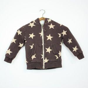 Mini Boden Brown Stars Shaggy Hoodie Sz 3-4Y